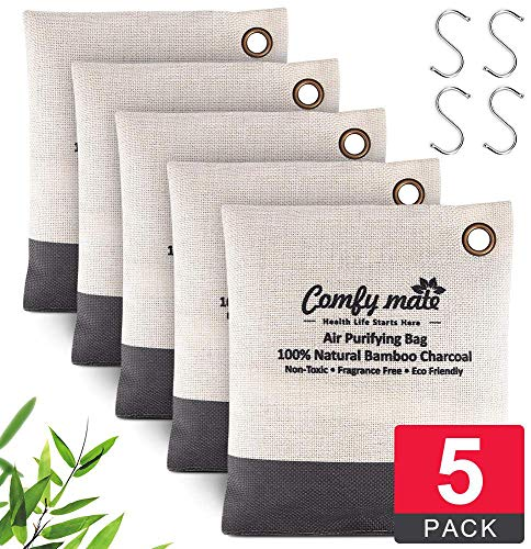 Thailand Bamboo Charcoal Air Purifying Bag5x 200gPackswith Hooks, Activated Natural Breathe Air Freshener Deodorizer, Odor Absorber Eliminator Remover for Green Home, Car, Pet, Closet, Shoe Cabinet (Closet Air Purifier)
