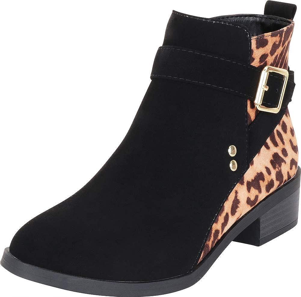 Black Cheetah Nbpu Cambridge Select Women's Crisscross Strappy Buckle Chunky Low Heel Ankle Bootie