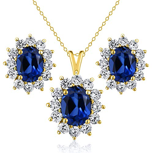 Gem Stone King 3.20 Ct Blue Simulated Sapphire 18K Yellow Gold Plated Silver Pendant Earrings Set