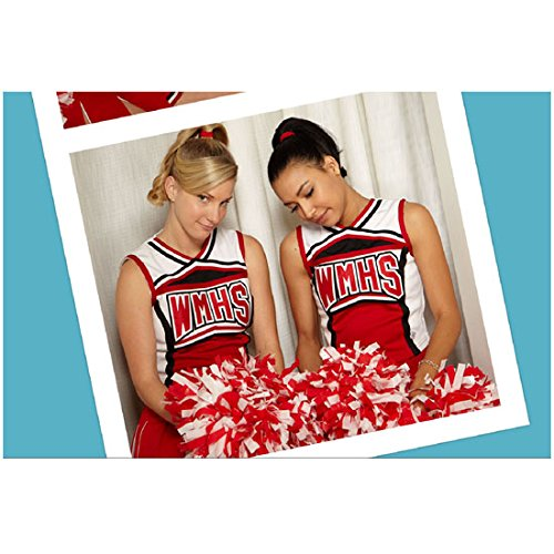 Naya Rivera 8 Inch x 10 Inch PHOTOGRAPH Glee (TV Series 2009 - 2015) w/Heather Morris Side by Side Holding Pom Poms Heads Down Looking Shy kn ()