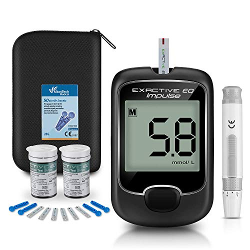 BGMKE Blood Glucose Monitor Meter, Diabetes Monitoring Kits [2019 Upgrade] Blood Sugar Tester with 50 Codefree Monitor Strips and 50 Lancets – for US Diabetics in mmol/L by Exactive EQ