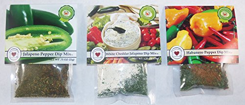 Country Home Creations Hot Pepper Dip Mix Trio - Jalapeno Pepper, White Cheddar Jalapeno, and Habanero Pepper