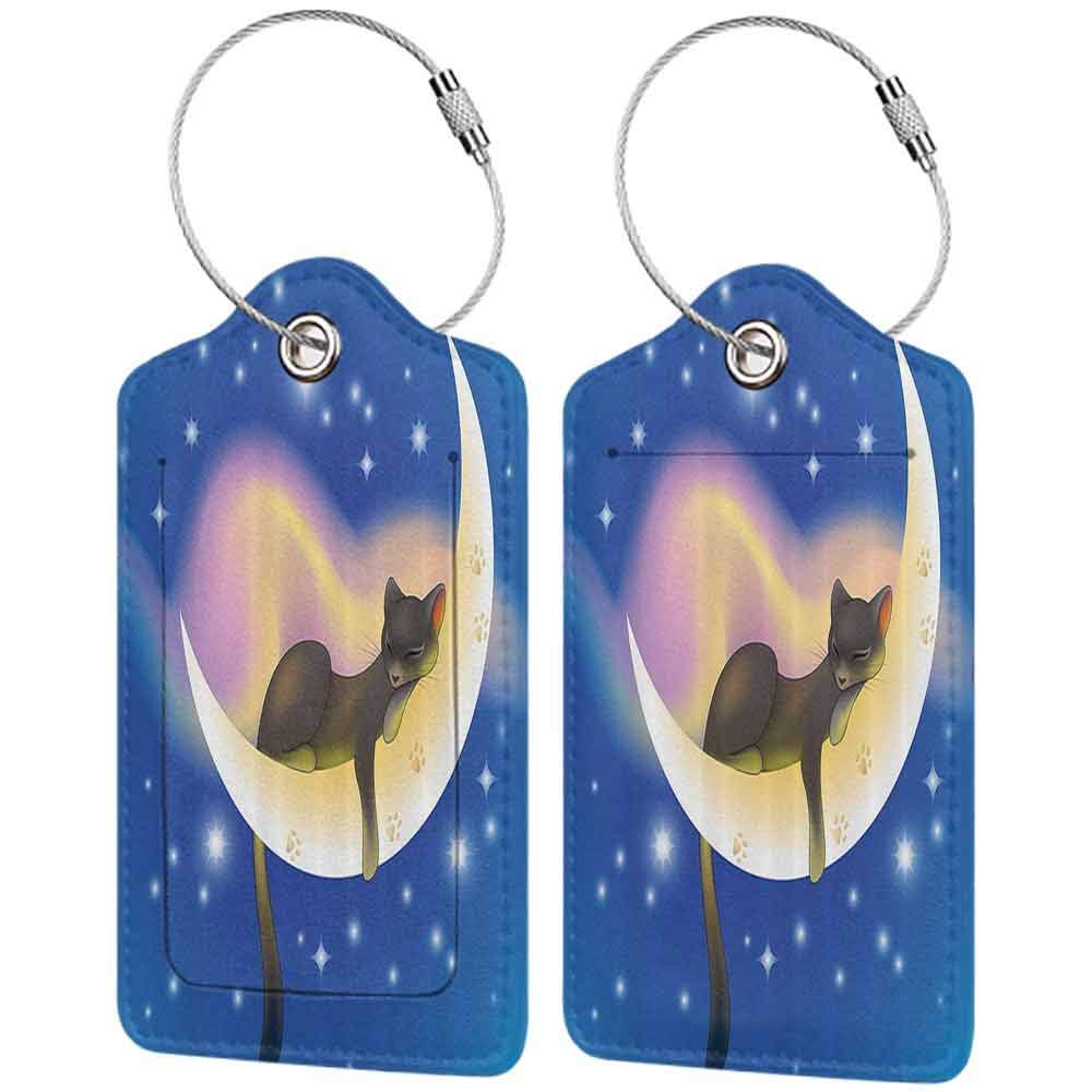 Multi-patterned luggage tag Cat Cat Sleeping on Crescent Moon Stars Night Sweet Dreams Themed Kids Nursery Design Double-sided printing Blue Yellow W2.7 x L4.6