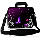 eyscar 17-Inch Laptop Shoulder Bag Messenger Case Sleeve with Handle and Extra Pocket for 16' 17' 17.3' 17.4 Inch MacBook/Ultrabook/HP/Acer/Asus/Dell/Lenovo/Thinkpad (Purple Butterfly)