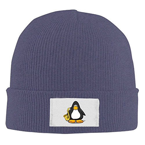 NO4LRM Men Women Saxophone Antarctic Penguins Warm Stretchy Knit Wool Beanie Hat Solid Daily Skull Cap Outdoor Winter