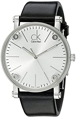 Calvin Klein Men's K3B2T1C6 'Congent' Silver Dial Black Leather Strap Watch