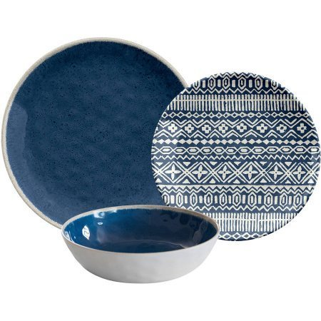 Reactive 12pc Dinnerware Set, Blue