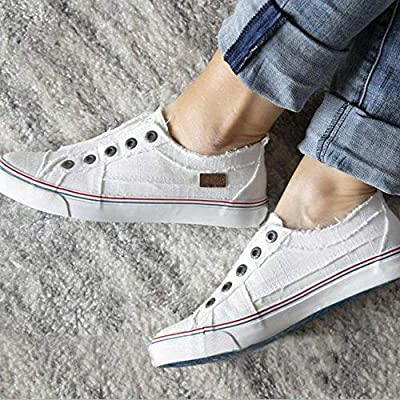 Xiakolaka Womens Slip on Sneakers Canvas Distressed Fashion Casual Flat Loafer Shoes | Walking