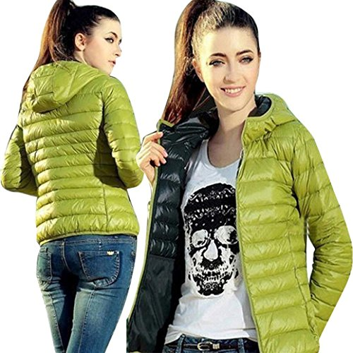 capucha mujer Internert manga de Abrigo de capucha informal larga Chaqueta con de de algodón sección delgada con moda de de invierno Verde y capucha ry7Bcy