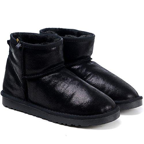 MILANAO Leather Winter Warm Snow Boots Women Black Metallic HWrqRHO
