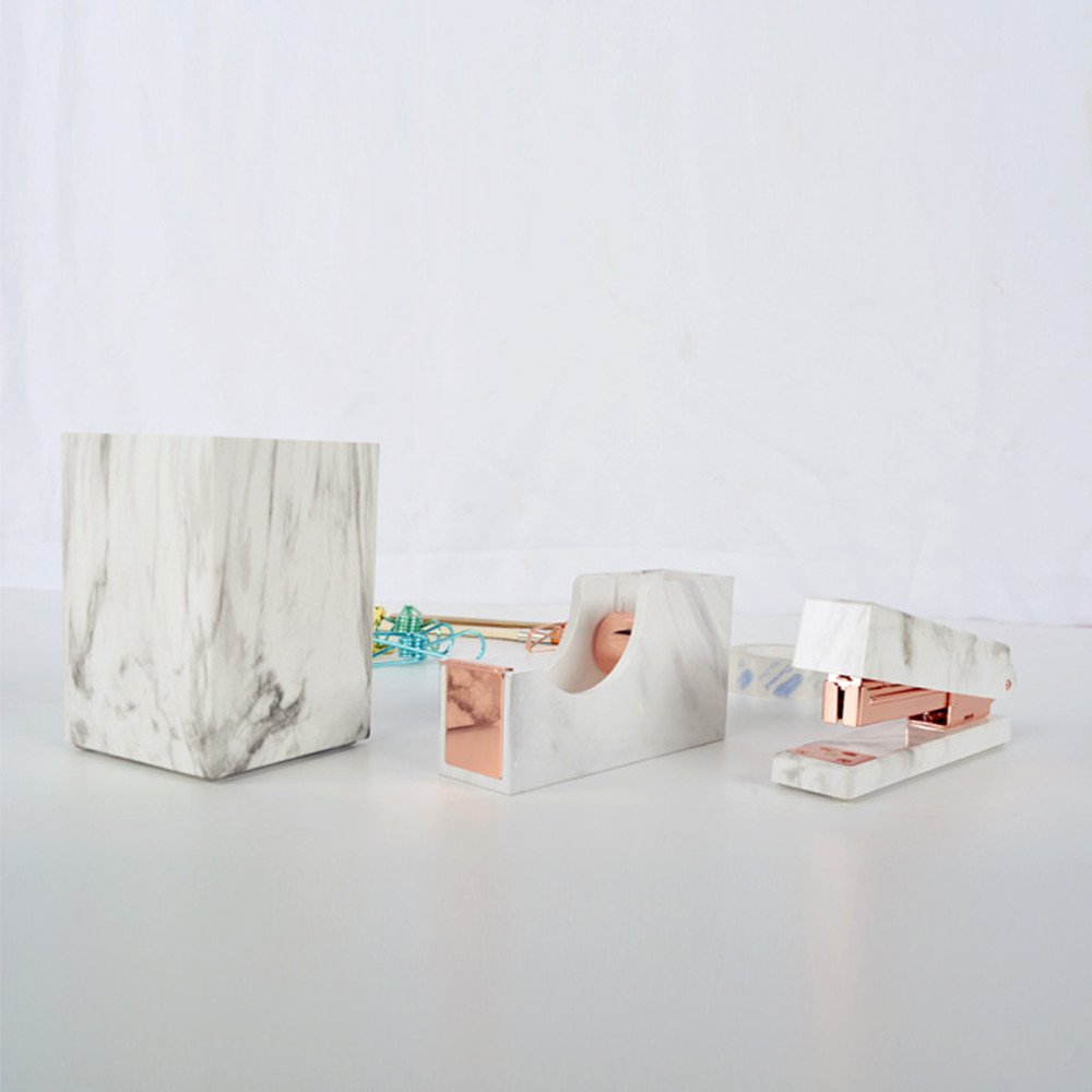 MultiBey Pen Pencil Cup Holder White Marble Texture Office Desktop Organizers