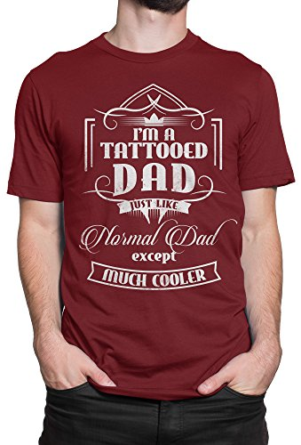 Camiseta Hombre Tattoed Dad - Camiseta 100% algodòn LaMAGLIERIA Bordeaux