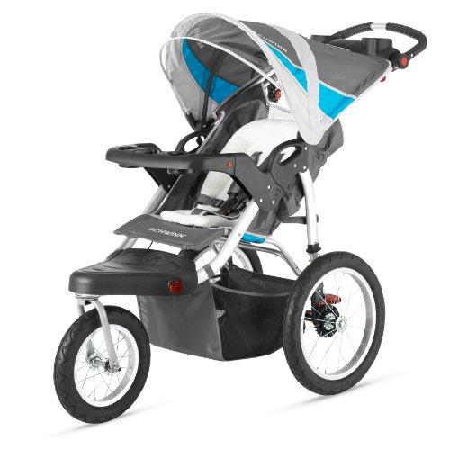 Schwinn Baby Jogger - Schwinn Turismo Single Swivel Stroller, Grey/Blue