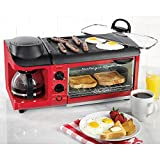 3 In 1 Breakfast Station Toaster Oven Griddle Coffee Maker Retro Mini Kitchen review