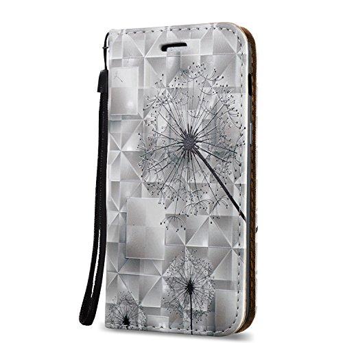 KaseHome 3D Patrón Efecto Samsung Galaxy A3 2017/A320F Wallet Funda,Negro y Blanco Carcasa en Libro PU Leather Cuero Suave Impresión Piel Caso Alta Resistencia,Dura Parachoques,Fuerte Cierre Magnético Dientes de León