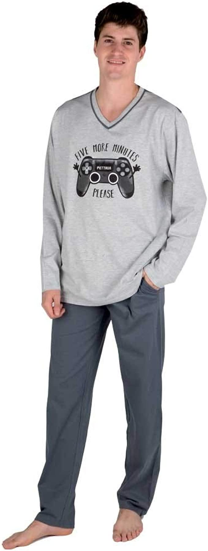 PETTRUS Pijama de Hombre Dibujo Play 5440 - Gris, L: Amazon ...