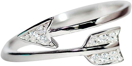Qiiueen Anillos Mujer, Anillo De Flecha con Incrustaciones De Diamantes Unisex: Amazon.es: Hogar