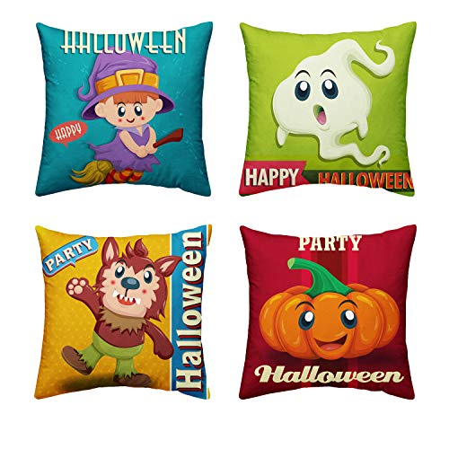 Orange Design Halloween Cute Wolfman Ghost Pumpkin Cute Devil Witch Throw Pillow Covers 18
