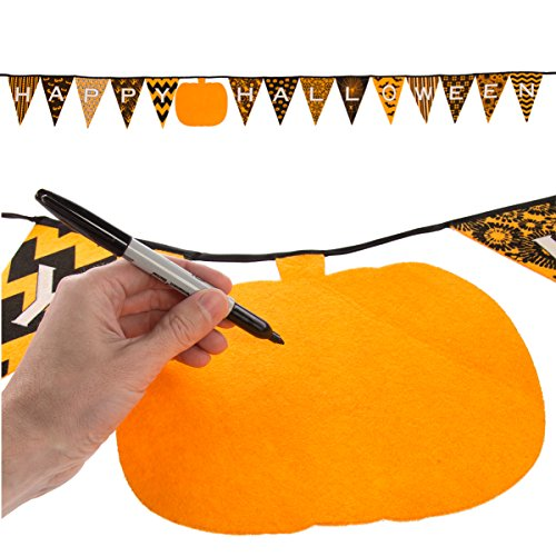 One Step Ahead (10ft Happy Halloween Decoration Sign Hanging Banner Felt Pennant Pumpkin Bunting Kid Party Décor