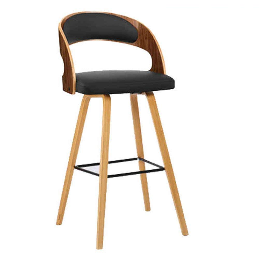 1 JZX Chair Bar Stool Solid Wood + Pu Simple and Modern Safe Secure Comfortable Durable