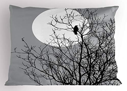 Lunarable Crow Pillow Sham, Crow Sitting on Leafless Tree Branches Against Full Moon Sky Illustration, Decorative Standard Queen Size Printed Pillowcase, 30