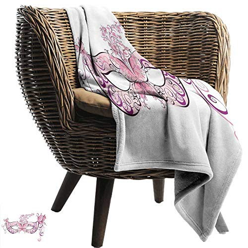Sillgt Fleece Blanket Throw Masquerade Butterfly Masks for Masquerade Italian Fantasy Floral Design Art Print Recliner Throw,Couch Throw, Couch wrap 70