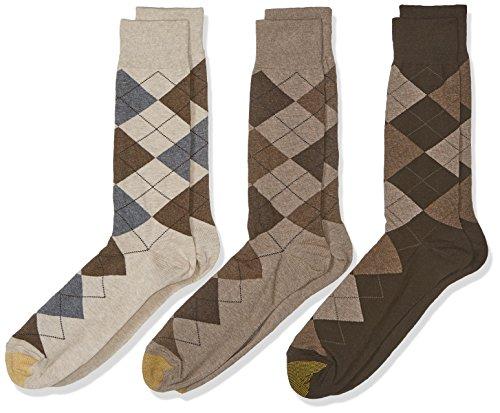 Gold Toe Men's 3-Pack Carlyle Argyle Crew Sock Taupe Argyle Mix Shoe Size: 12-16