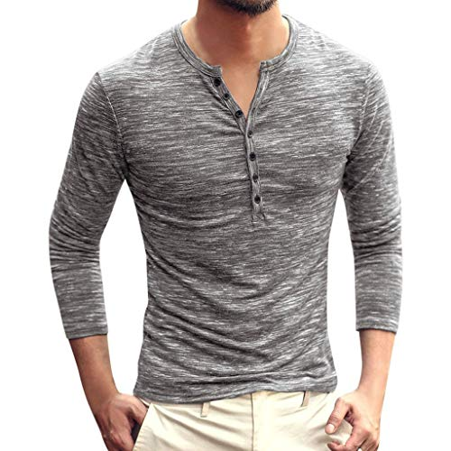 FONMA Men Autumn Casual Solid Color Long Sleeve V Neck Button Slim T-Shirt Tops Blouse Dark Gray