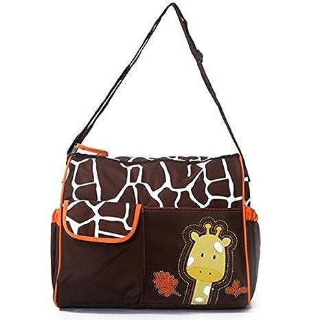 Baby Bucket Diaper Changing Bag - Orange Giraffe Pattern