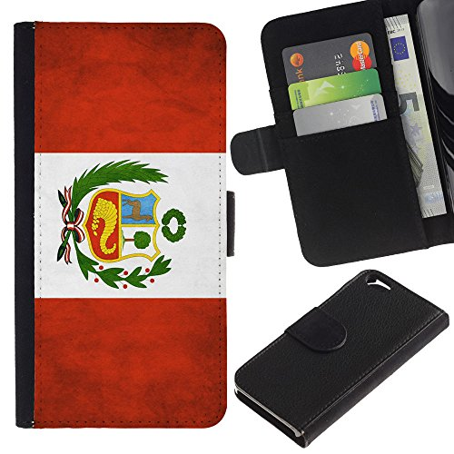 EuroCase - Apple Iphone 6 4.7 - Peru Grunge Flag - Cuir PU Coverture Shell Armure Coque Coq Cas Etui Housse Case Cover