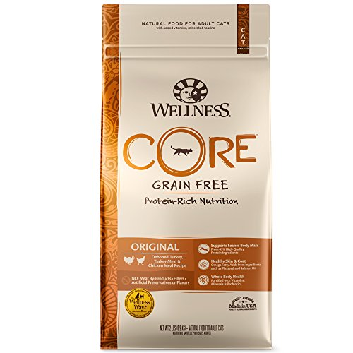 Wellness Core Natural Grain Free Dry Cat Food, Original Turkey & Chicken Recipe, 5-Pound Bag