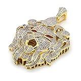 Men's Luxury Hip Hop Gold Plated Lion Face Piece Pendant 30'' 3mm Rope Chain Necklace Set SG01