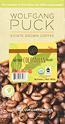 Wolfgang Puck Coffee, Organic Fair Trade, Colombian Coffee, 9.5 Gram Pods, 18 Count