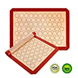 Non Sitck Silicone Baking Mat Macaron Sheet - Non-slip Set of 2 Sheet (16.5'' x 11.6'') - Heat Resistant/Non Stick Silicon Liner for Bake Pans & Rolling - Macaroon/Pastry/Cookie Making