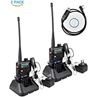 2Pack XFox X-5R Dual-Band 136-174/400-520 MHz FM Ham Two-way Radio CTCSS/DCS Walkie Talkies with Original Air Tube Earpiece and Programming Cable