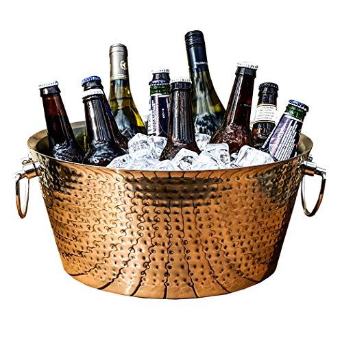 BREKX Double-Walled Hammered Stainless Steel Party Beverage Tub & Wine Chiller - 17 Quarts - Wedding Registry -