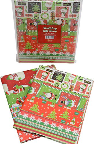 Gift wrap flat wrapping paper, Christmas designs, assorted holiday designs, pack of 48 sheets, 20