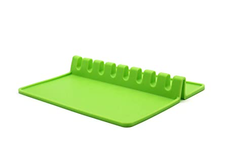 Spoon Rest Kitchen Utensil Silicone Giant Spoon Holder Green