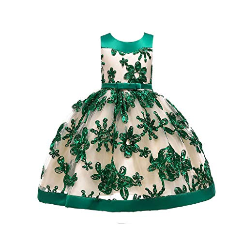 Toddler Little/Big Girls Dresses Floral Print Tie Knot Back Birthday Party Wedding Dress (6-7 Years, Green) ()