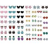 JOERICA Girls Stainless Steel Stud Earrings for Women Toddler Flower CZ Animals Pineapple
