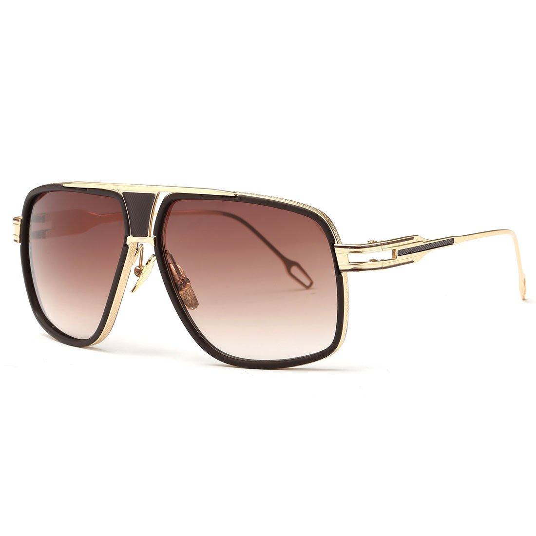 AEVOGUE Sunglasses For Men Goggle Alloy Frame Brand Designer AE0336 (Gold&Brown, 62) by AEVOGUE