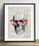 Skull With Red Glasses Vintage Upcycled Dictionary Art Print 8x10