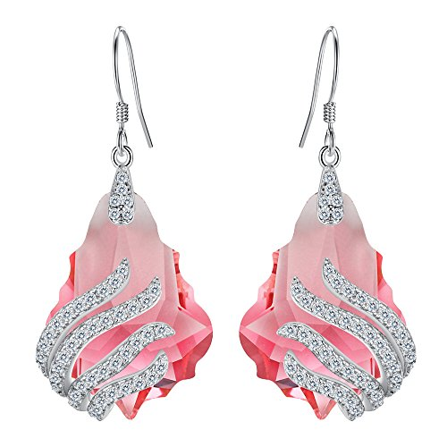 - EVER FAITH 925 Sterling Silver CZ Party Leaf Baroque Hook Dangle Earrings Pink Tourmaline Color Adorned with Swarovski crystals
