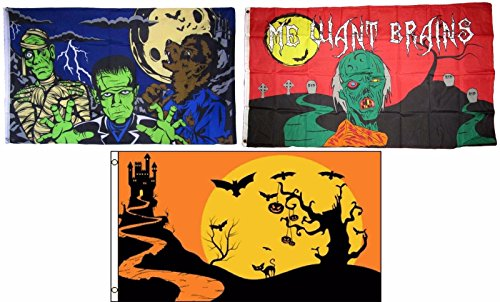 ALBATROS 3 ft x 5 ft Happy Halloween 3 Pack Flag Set #31 Combo Banner Grommets for Home and Parades, Official Party, All Weather Indoors Outdoors]()