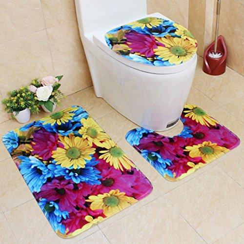3pcs/set Bathroom Non-Slip Shiny Sun Flower Pattern Pedestal Rug + Lid Toilet Cover + Bath Mat (Blue)