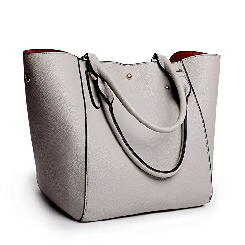 Tibes Large Women Top-Handle Handbag Pu Leather Tote Bag Satchel Gray by TIBES