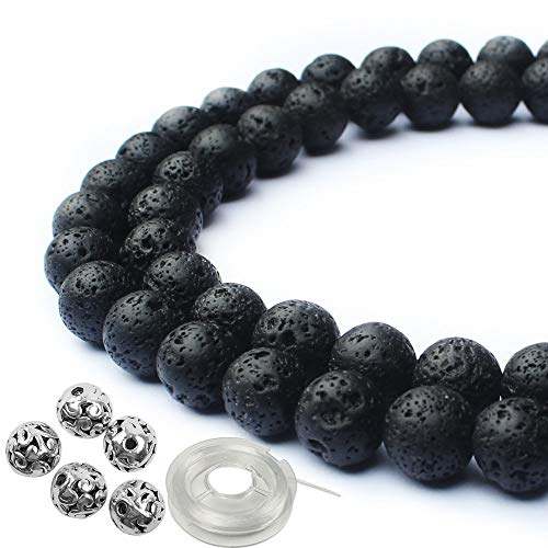 JPSOR 95Pcs 8mm Natural Round Volcanic Gemstone Beads Black Lava Stone Beads, 5Pcs 8mm Metal Beads, with 1 Roll Elastic Beading Thread for Jewelry Making & 1 Non-Woven Pouch