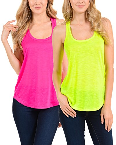 EttelLut Racerback Neon Sports Workout Tank Tops for Women and Juniors 2PK Pink Yellow S