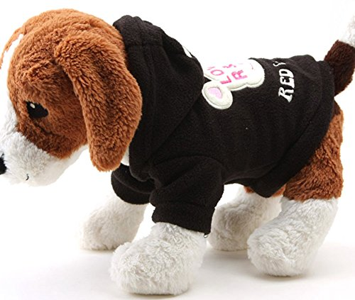 Cute Dog Bear Costume (Hestio Dog Cute Cartoon Bear Hoodie Warm Sweater Pet Clothes (S, black))