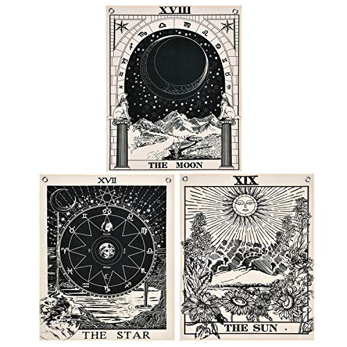 Likiyol Pack of 3 Tarot Tapestry The Sun The Moon The Star Tarot Card Tapestry with Rustproof Grommets, Seamless Nails(16 x 20 inches/Piece) (Card Gift Grommet)